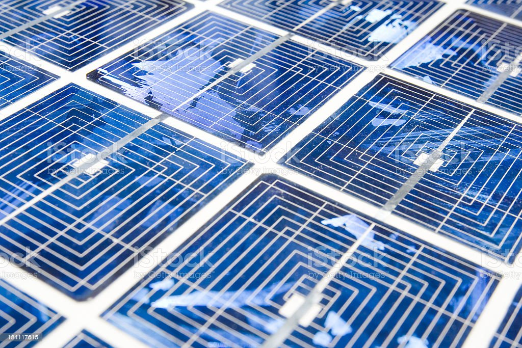 Solar panels in blue with grey stripes stock photo