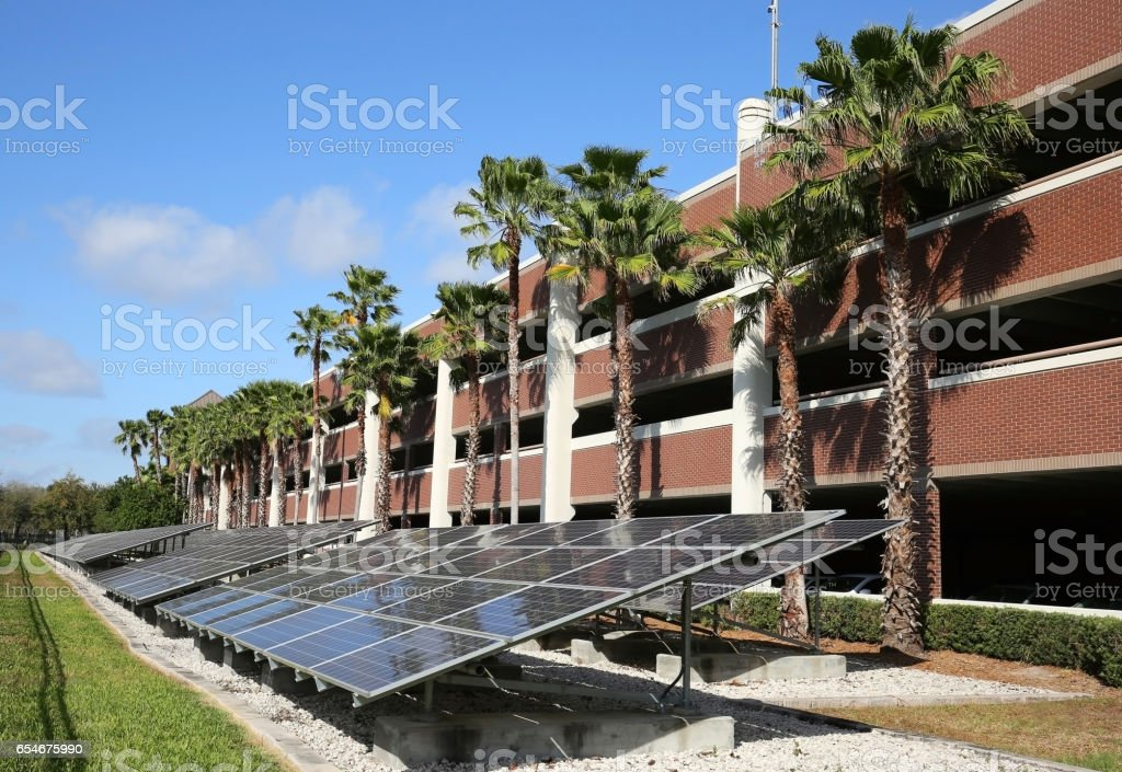 solar panels in front of a garage stock photo