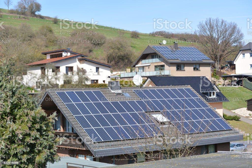 Solar panels in german town stock photo