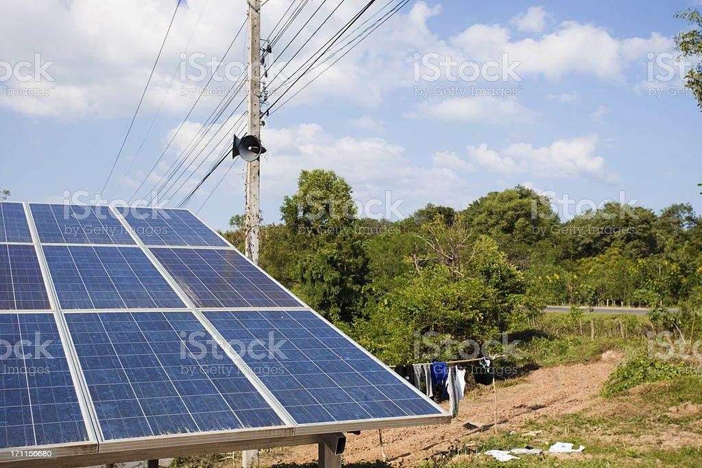 Solar panels in rural Laos royalty-free stock photo