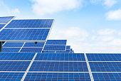 solar panels in solar power station alternative energy from the sun