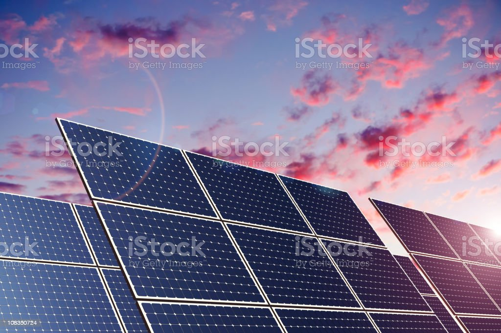 Solar Panels in Sunset (XXL) royalty-free stock photo