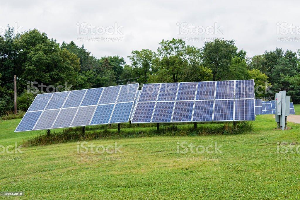 XXXL: Solar panels in the backyard stock photo