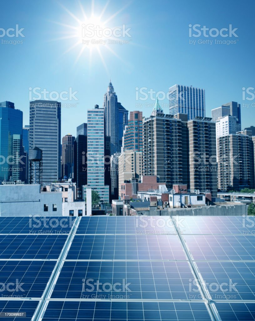 Solar panels in the city royalty-free stock photo