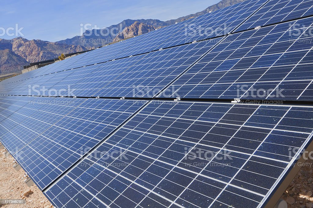 Solar panels in the Mojave Desert. royalty-free stock photo