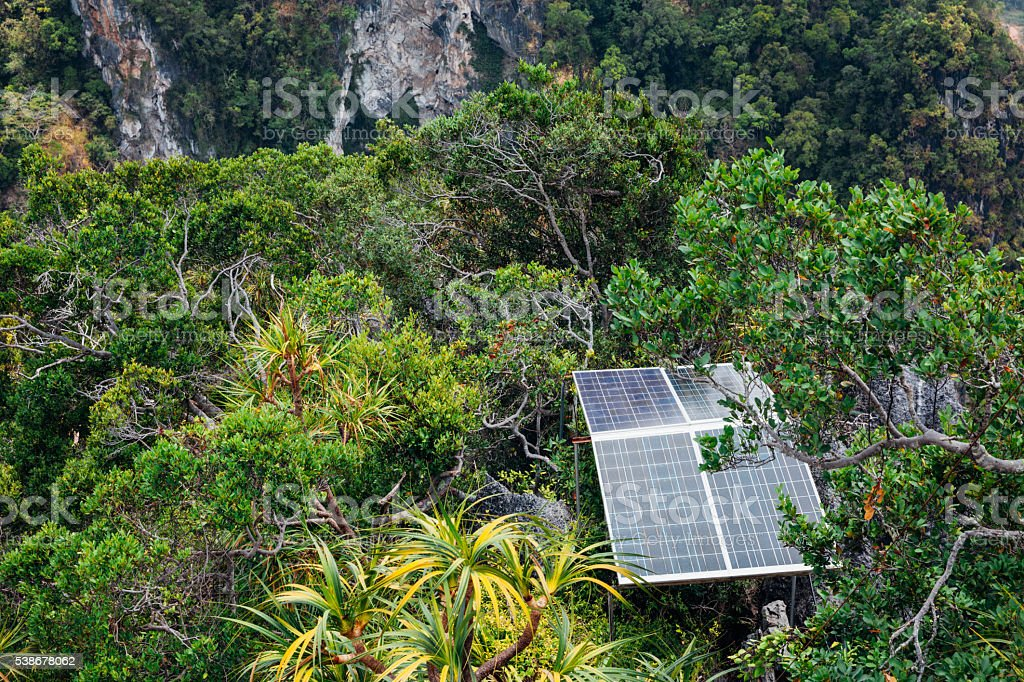 Solar panels in the mountains stock photo