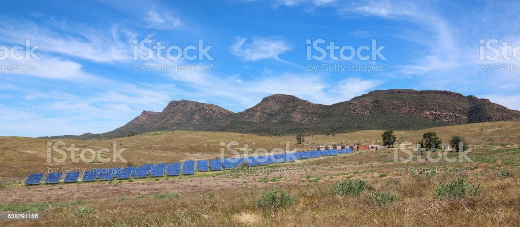Solar panels in the outback stock photo