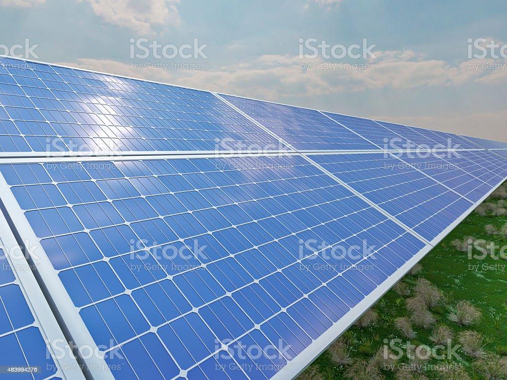 solar panels in the sun stock photo
