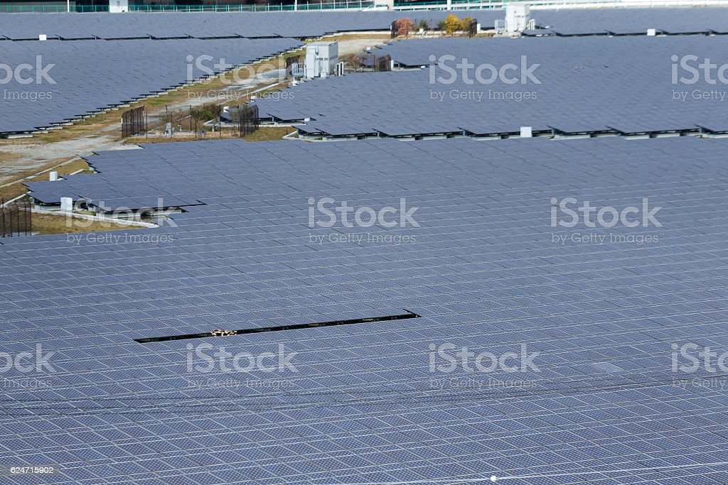 Solar panels in town stock photo