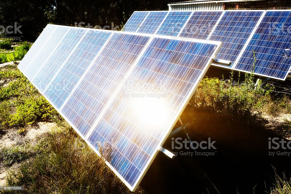 Solar panels on a farm stock photo