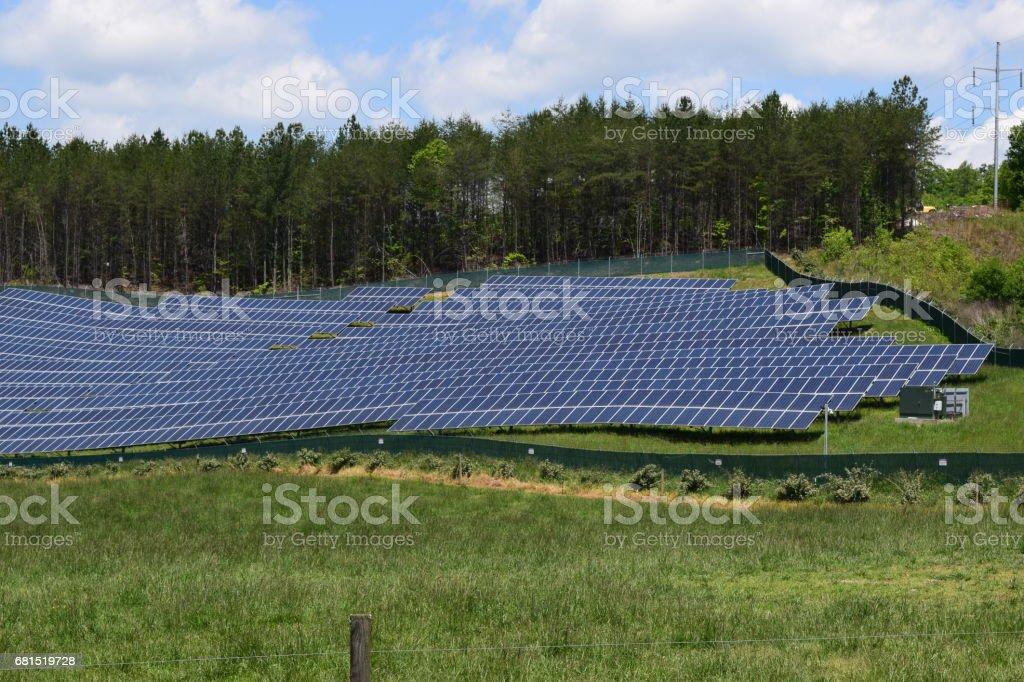 Solar panels on a western NC farm stock photo
