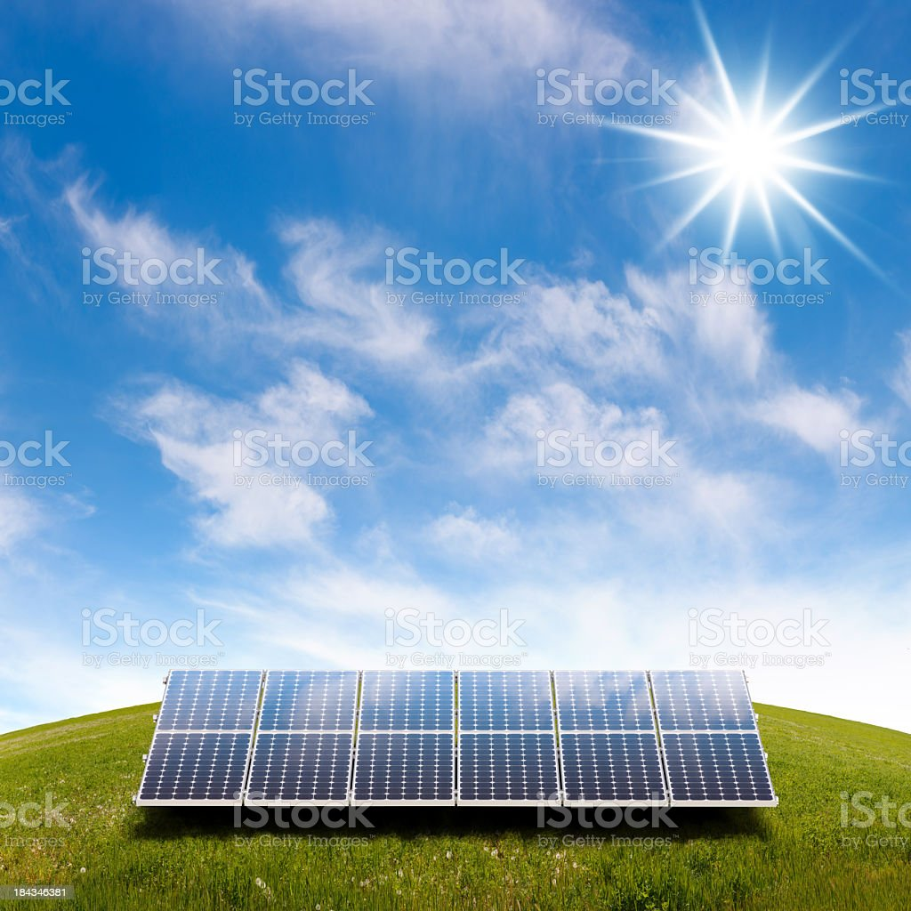 Solar Panels on Hill stock photo