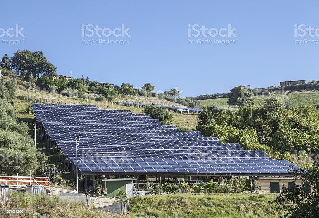 Solar Panels On Hill royalty-free stock photo