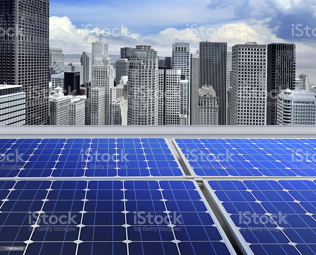Solar panels on modern roof royalty-free stock photo