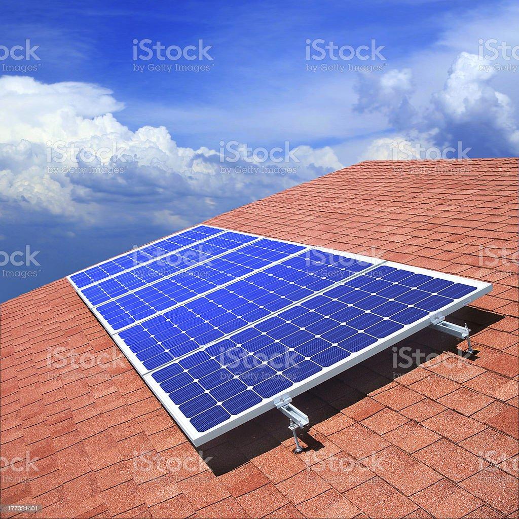 Solar panels on roof stock photo