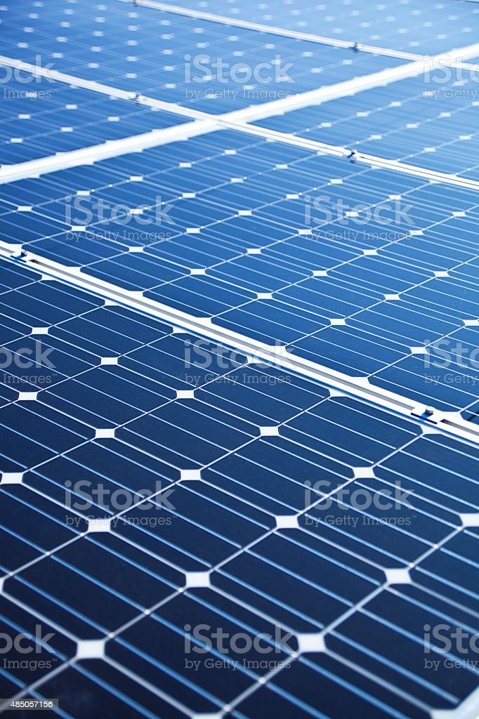 Solar Panels on Roof Top of Residential Home stock photo