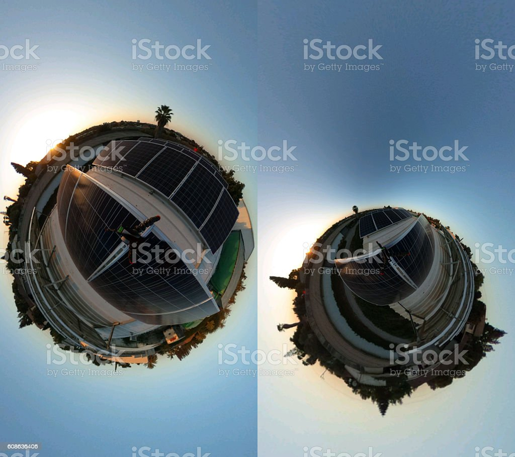 solar panels on rooftop - Tiny world pictures stock photo