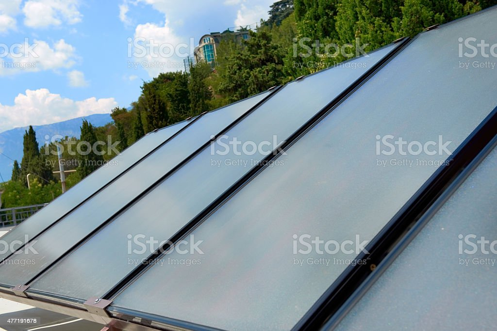 Solar panels on the roof stock photo