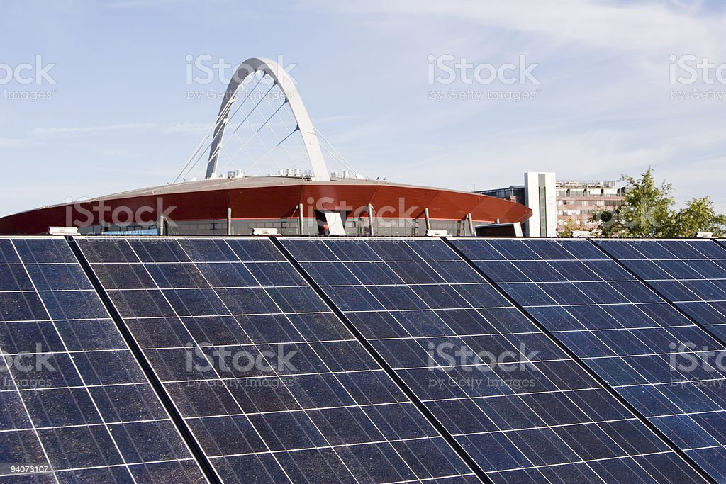Solar panels on the roof royalty-free stock photo