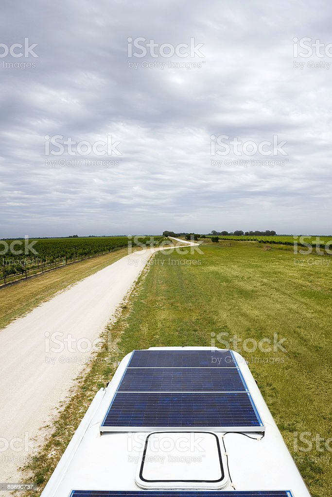 Solar Panels on Top Of Bus Motor Home royalty-free stock photo
