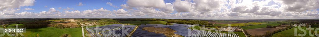 Solar panels Photovoltaic systems  aerial view panorama stock photo