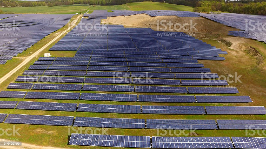 Solar panels Photovoltaic systems - aerial view stock photo