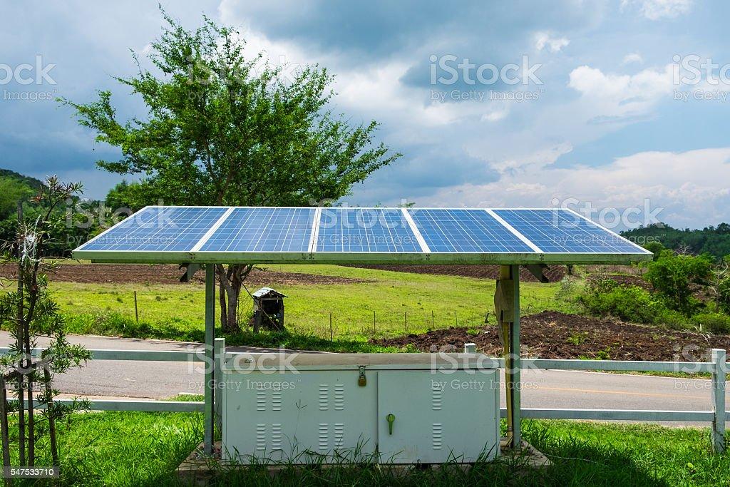 Solar panels power energy alternative benefit stock photo