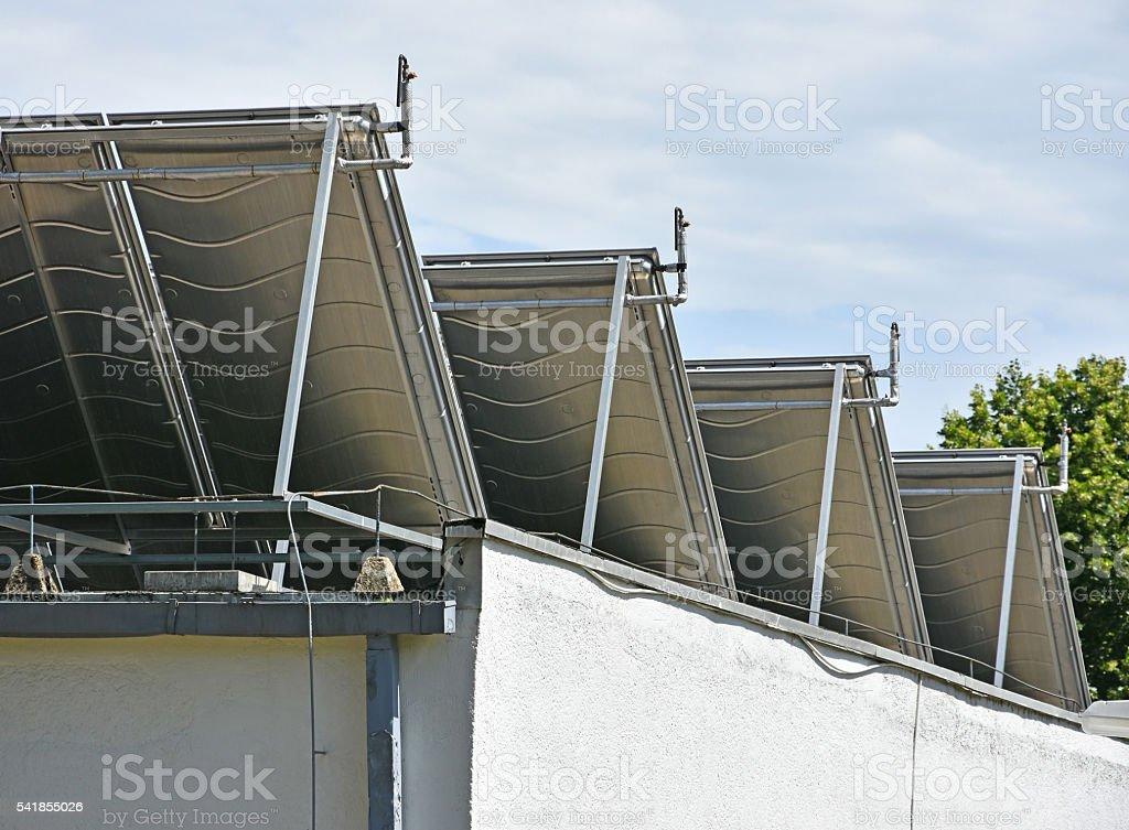 Solar panels rear view stock photo