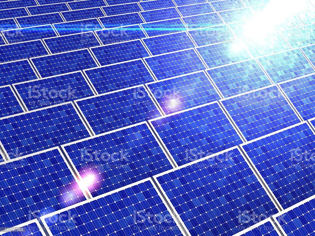 Solar panels reflecting the bright sunlight royalty-free stock photo