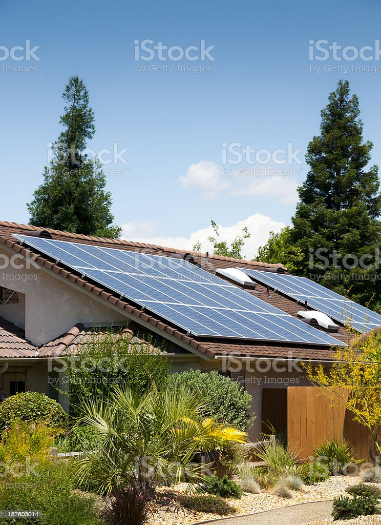 Solar Panels Side View stock photo