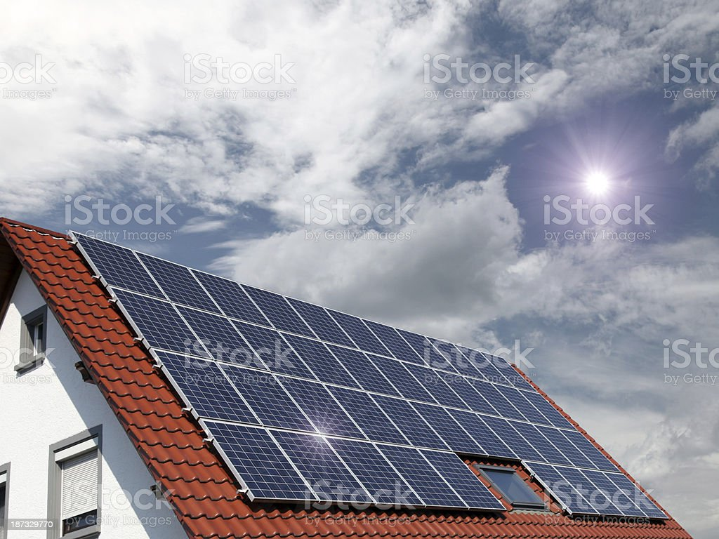 Solar panels smart house energy efficiency royalty-free stock photo