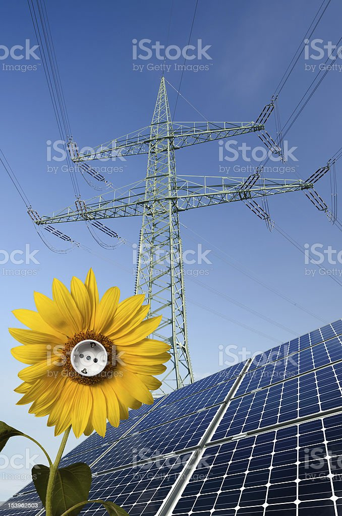 Solar panels, sunflower with socket and utility pole royalty-free stock photo