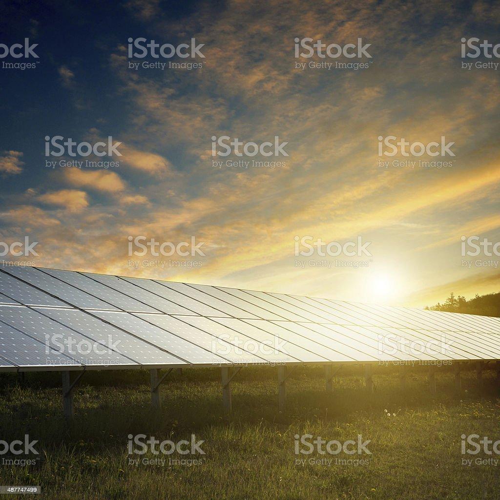 solar panels under sky on sunset stock photo