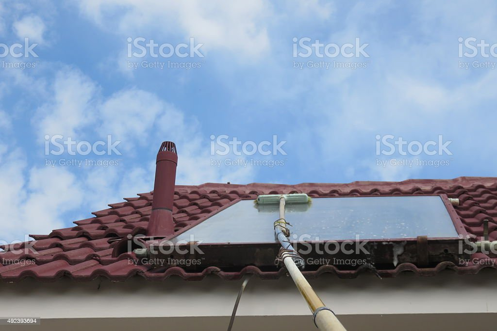 Solar panels used to heat water stock photo