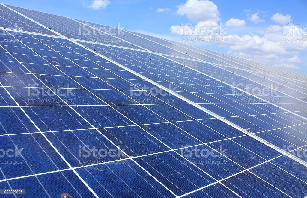 solar panels with blue sky stock photo