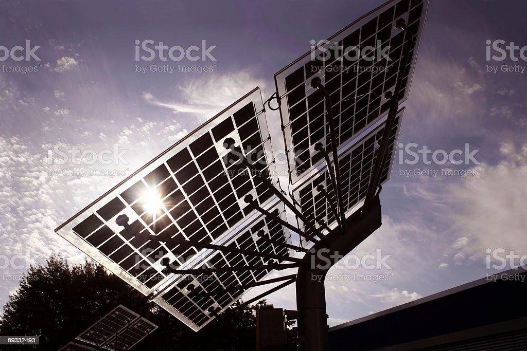 Solar panels with sunbeam stock photo