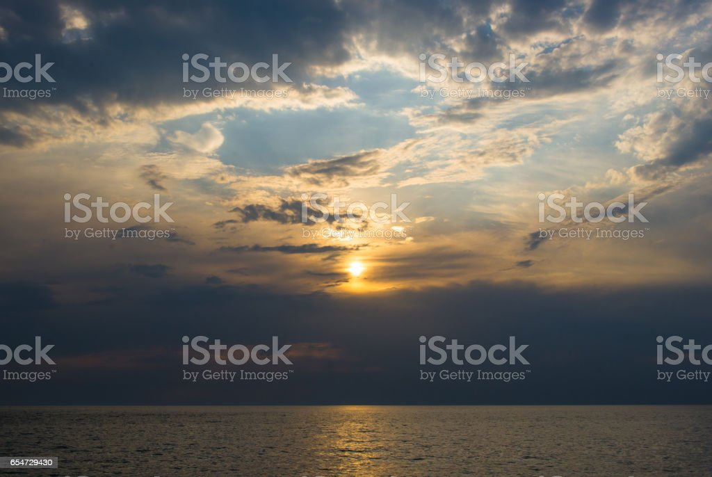 solar path on the sea stock photo
