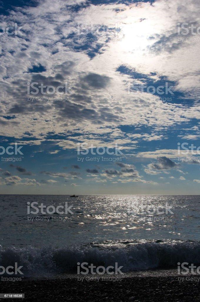 solar path on the sea stock photo