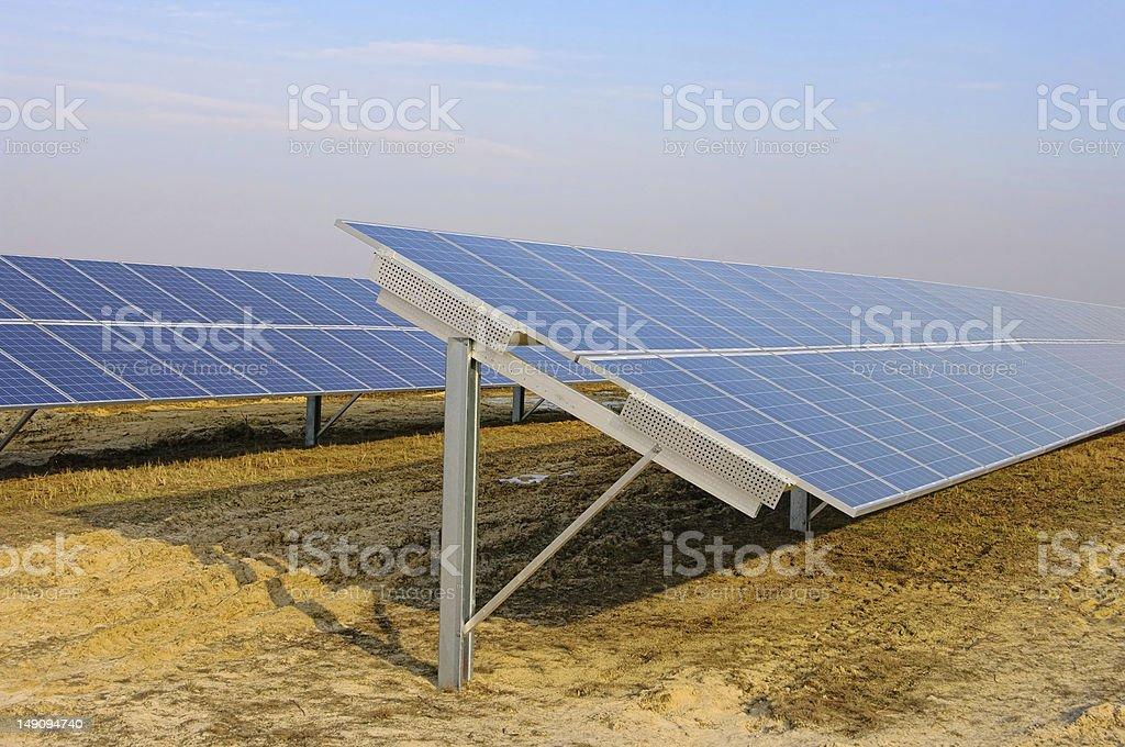 solar plant on field stock photo
