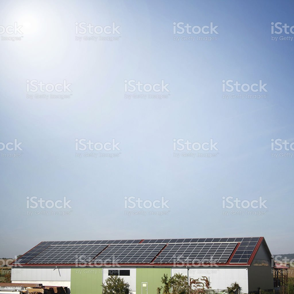 solar plants in the house for electricity generation royalty-free stock photo
