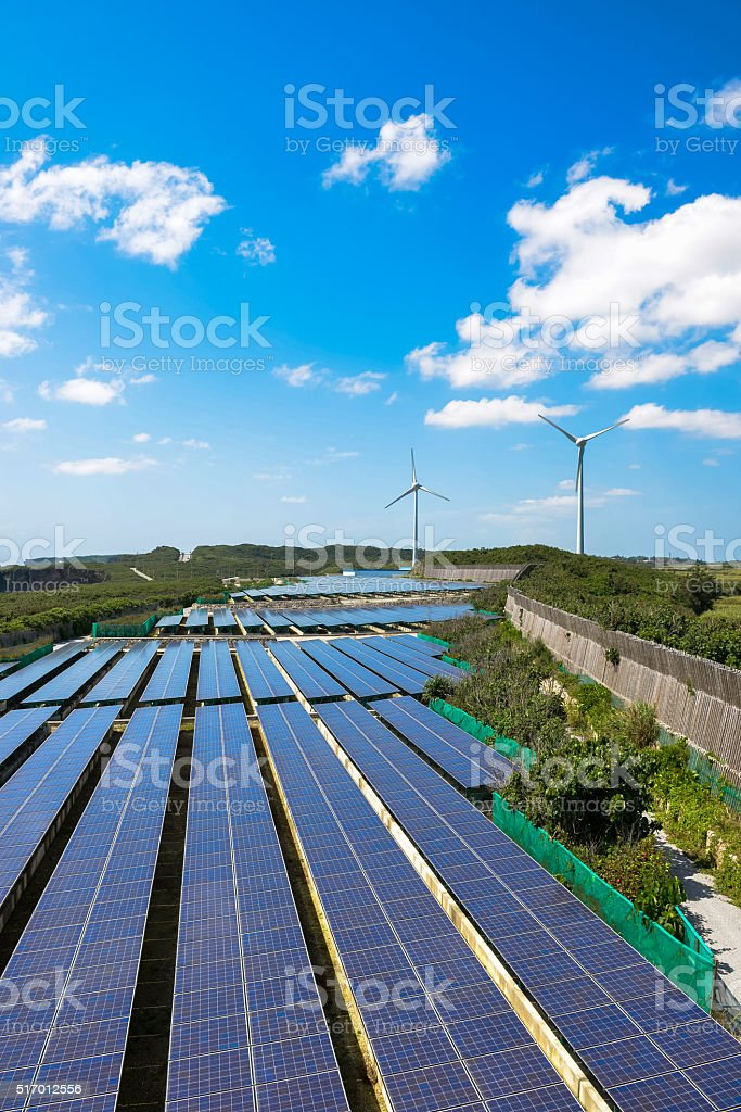 Solar power and wind power generation stock photo