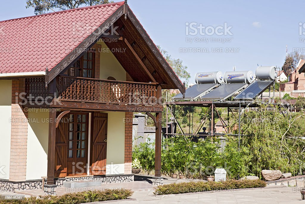 Solar power outside guest chalet; Ambositra, Madagascar stock photo