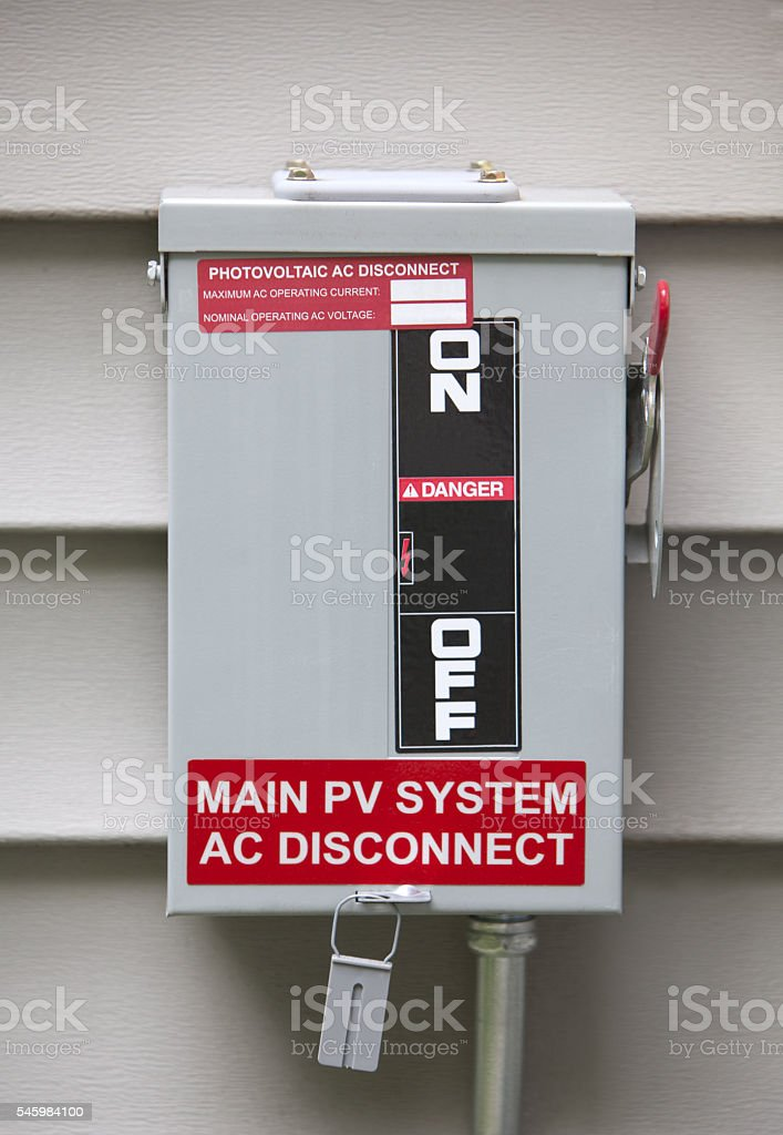 Solar Power Photovoltaic System On Off Residential Power Switch stock photo