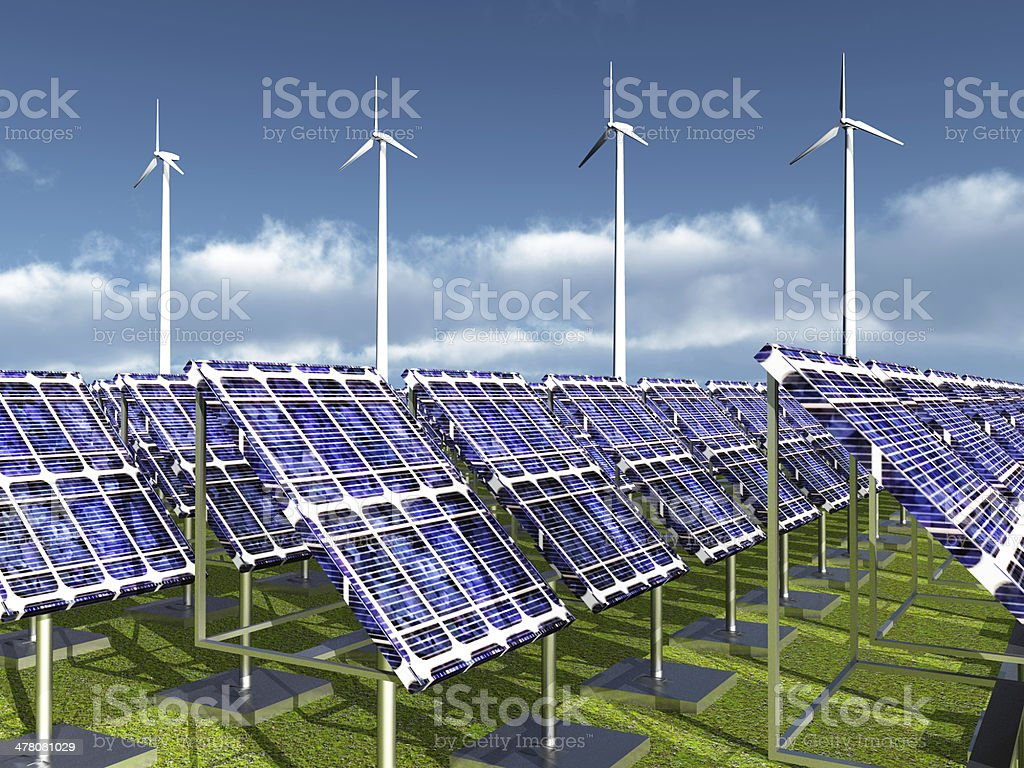 Solar Power Plant and Wind Farm royalty-free stock photo