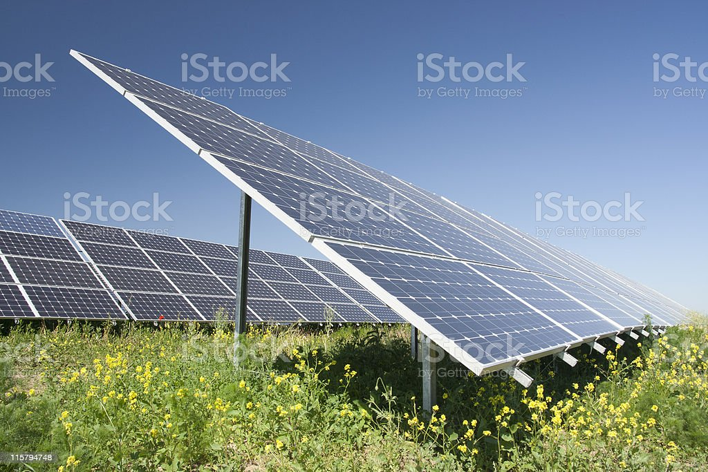 A solar power station consisting of dozens of solar panels royalty-free stock photo
