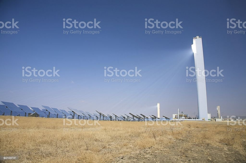 solar power tower reflects sun in Seville royalty-free stock photo