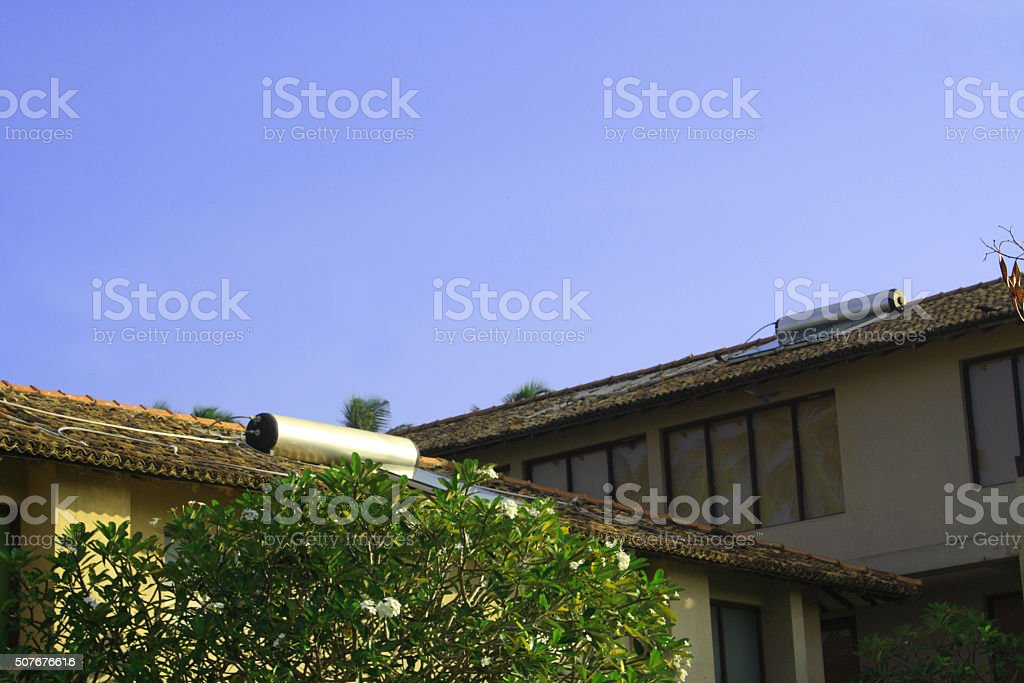 Solar power water heater in house stock photo