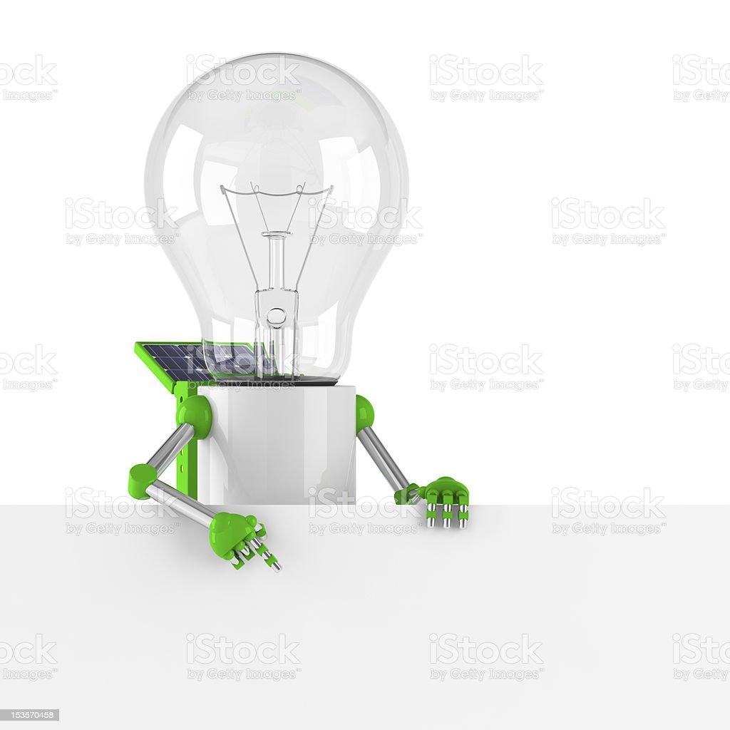 solar powered light bulb robot - blank banner royalty-free stock photo