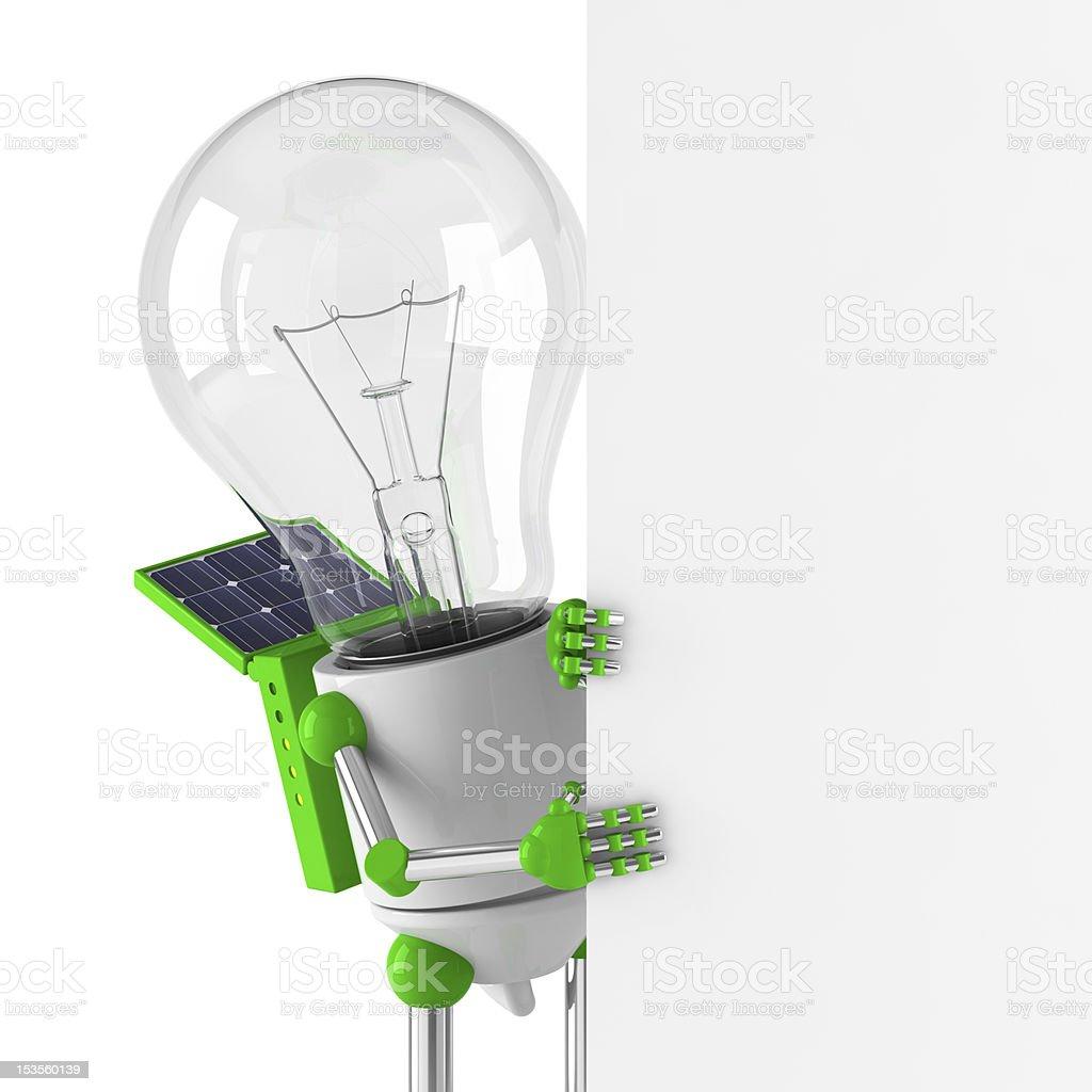 solar powered light bulb robot - blank billboard royalty-free stock photo