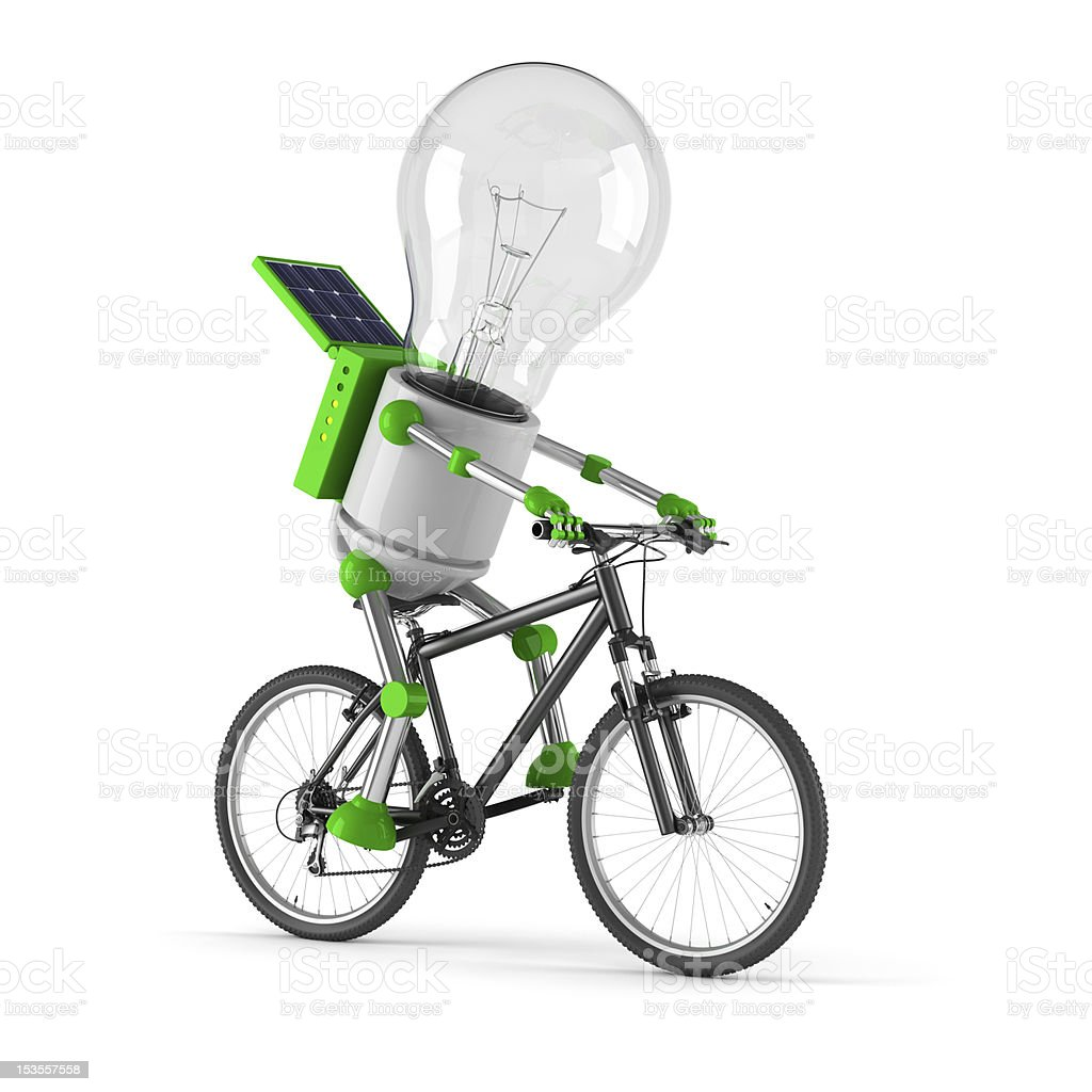 solar powered light bulb robot - cycling royalty-free stock photo